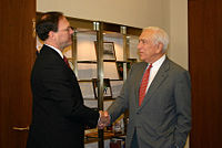 Lautenberg meets with Associate Justice nominee Samuel Alito prior to his confirmation hearings. Lautenberg eventually voted against the nominee.