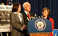 Lautenberg with Barbara Boxer (right) and Maria Cantwell (left) at a news conference discussing whether oil executives lied during a Congressional testimony regarding price gouging.