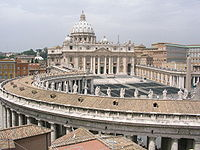 St. Peter's Basilica, Vatican City, the largest church in the world and a symbol of the Catholic Church.