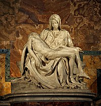 Michelangelo's 1498–99 Pietà in St. Peter's Basilica; the Catholic Church was among the patronages of the Renaissance.