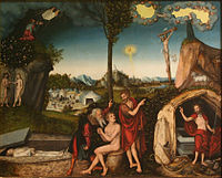 The Law and the Gospel by Lucas Cranach the Elder (1529); Moses and Elijah point the sinner to Jesus for salvation.