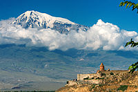 The 7th-century Khor Virap monastery in the shadow of Mount Ararat; Armenia was the first state to adopt Christianity as the state religion, in AD 301.