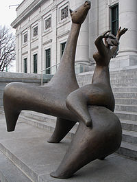La Cavalière by Charles Daudelin, 1963, installed in front of the pavilion Gérard Morisset of the Quebec National Museum of Fine Arts in Quebec City