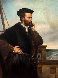 A depiction of Jacques Cartier by Théophile Hamel, 1844. No contemporary likeness of Cartier has been found to exist.