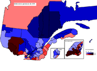 The results of the 1995 Quebec referendum per circonscription. Dark red means high no %, dark blue means high yes %.