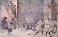 British troops defending Quebec from an American attack during the Battle of Quebec in December 1775