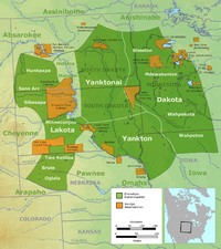 Map showing the general locations of the tribes and subtribes of the Sioux by the late 18th century; current reservations are shown in orange.