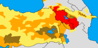 '''Historical and modern distribution of Armenians. '''Settlement area of Armenians in early 20th century: