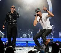Iglesias performing with Pitbull at the Frank Erwin Center in Austin, Texas, 2015