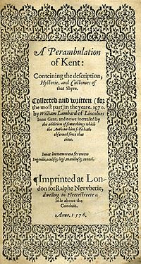 Title page of William Lambarde's Perambulation of Kent (completed in 1570 and published in 1576), a historical description of Kent and the first published county history