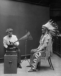 Frances Densmore recording Blackfoot chief Mountain Chief on a cylinder phonograph in 1916