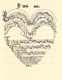 Prior to the invention of the printing press, the only way to copy sheet music was by hand, a costly and time-consuming process. Pictured is the hand-written music manuscript for a French Ars subtilior chanson (song) from the late 1300s about love, entitled Belle, bonne, sage, by Baude Cordier. The music notation is unusual in that it is written in a heart shape, with red notes indicating rhythmic alterations.
