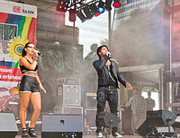 A live musical performance at Cologne Pride, 2013.
