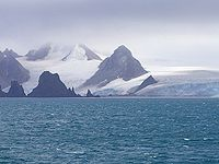 Fort Point and St. Kiprian Peak, Greenwich Island from Bransfield Strait