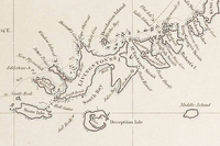Fragment of George Powell's 1822 chart of the South Shetland Islands and South Orkney Islands featuring Greenwich Island