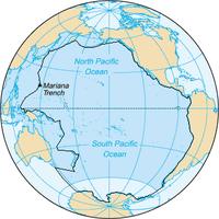 Area inside the black line indicates the area constituting the Pacific Ocean prior to 2002; darker blue areas are its informal current borders following the recreation of the Southern Ocean and the reinclusion of marginal seas