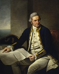 """Famous official portrait of Captain James Cook who proved that waters encompassed the southern latitudes of the globe. """"He holds his own chart of the Southern Ocean on the table and his right hand points to the east coast of Australia on it."""""""