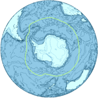 A general delineation of the Antarctic Convergence, sometimes used by scientists as the demarcation of the Southern Ocean