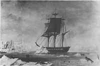 USS Vincennes at Disappointment Bay, Antarctica in early 1840.