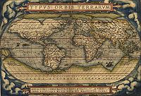 1564 Typus Orbis Terrarum, a map by Abraham Ortelius showed the imagined link between the proposed continent of Antarctica and South America.