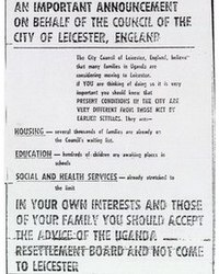 1972 advertisement in the Uganda Argus newspaper to discourage Ugandan Asians from settling in Leicester
