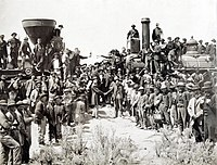 The completion of the Transcontinental Railroad (1869) at First Transcontinental Railroad, by Andrew J. Russell
