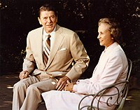 Supreme Court Justice-nominee Sandra Day O'Connor talks with President Ronald Reagan outside the White House, July 15, 1981. Serving from her appointment in 1981 by Ronald Reagan until her retirement in 2006. She was the first woman to serve as a Justice of the Supreme Court of the United States.
