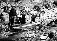 The California Gold Rush news of gold brought some 300,000 people to California from the rest of the United States and abroad.