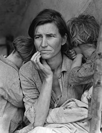 Dorothea Lange's Migrant Mother depicts destitute pea pickers in California, centering on Florence Owens Thompson, a mother of seven, age 32, in Nipomo, California, March 1936.