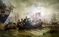 """Oliver Hazard Perry's message to William Henry Harrison after the Battle of Lake Erie began with what would become one of the most famous sentences in American military history: """"We have met the enemy and they are ours"""". This 1865 painting by William H. Powell shows Perry transferring to a different ship during the battle."""