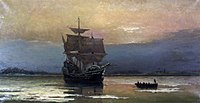 The Mayflower, which transported Pilgrims to the New World. During the first winter at Plymouth, about half of the Pilgrims died.