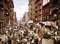 Mulberry Street, along which Manhattan's Little Italy is centered. Lower East Side, circa 1900. Almost 97% of residents of the 10 largest American cities of 1900 were non-Hispanic whites.