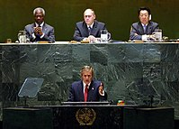 George W. Bush addressed the General Assembly of the United Nations on September 12, 2002 to outline the complaints of the United States government against the Iraqi government.