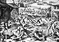 The Indian massacre of Jamestown settlers in 1622. Soon the colonists in the South feared all natives as enemies.