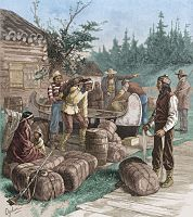 Indians trade 90-lb packs of furs at a Hudson's Bay Company trading post in the 19th century.