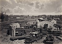 Atlanta's railyard and roundhouse in ruins shortly after the end of the Civil War