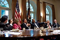 Congressional leadership meeting with then-President Obama in 2011.