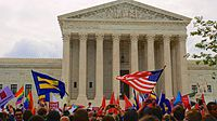 On the morning of June 26, 2015 outside the Supreme Court, the crowd reacts to the Court's decision on Obergefell v. Hodges