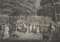 A drawing of a Protestant camp meeting, 1829.