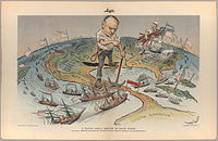 This cartoon reflects the view of Judge magazine regarding America's imperial ambitions following a quick victory in the Spanish–American War of 1898. The American flag flies from the Philippines and Hawaii in the Pacific to Cuba and Puerto Rico in the Caribbean.