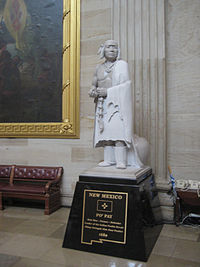 Statue of Popé, or Po'Pay, leader of the Pueblo Revolt in 1680, as it stands in the National Statuary Hall in the U.S. Capitol Building