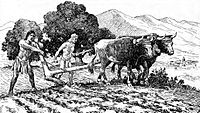 Indigenous farmers preparing a field for planting near Mission San Diego de Alcalá. Drawing by A.B. Dodge, 1920.