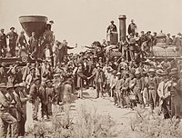 The Golden Spike ceremony joining the Union Pacific Railroad with the Central Pacific Railroad