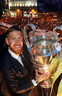 Ramos posing with the European Cup, after the 2015–16 season