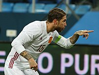 Ramos celebrates after scoring a goal against Russia in a friendly in Saint Petersburg.