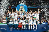 Ramos hoisting the European Champion Clubs' Cup as Real Madrid celebrate winning the UEFA Champions League, on 26 May 2018
