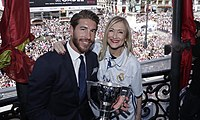 Ramos and Community of Madrid President Cristina Cifuentes with the 2016–17 La Liga trophy during celebrations in Madrid.