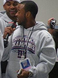 New York Giants' wide receiver Sinorice Moss at the Giants' Super Bowl parade, February 5, 2008.