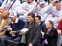 Manning at the Giants' victory rally at New York's City Hall