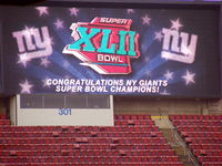 The big screen at Giants Stadium during the Super Bowl XLII victory rally at the New Jersey Meadowlands.